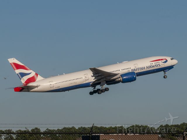 Boeing 777-200 (G-YMMI) - BAW194 IAH - LHR in the distance UAL20 IAH - AMS departing Rwy 9