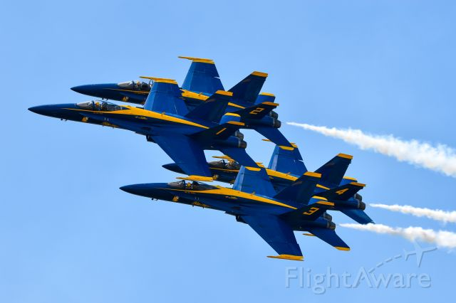 McDonnell Douglas FA-18 Hornet — - Blue Angels performing at Fargo Airsho, July 28, 2018