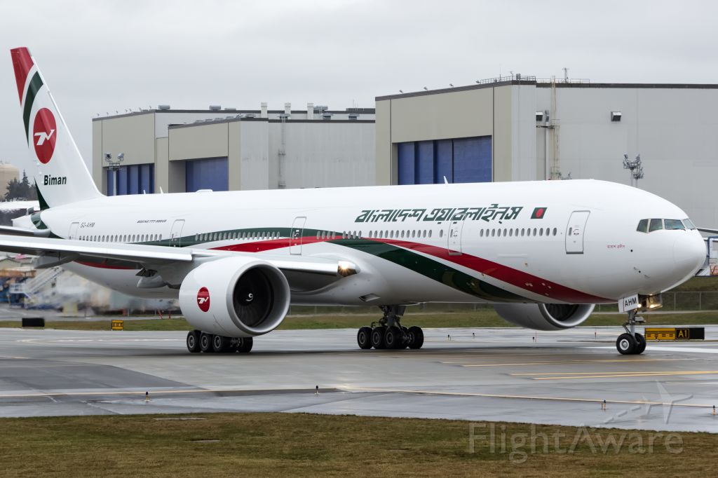 Boeing 777 (S2-AHM) - Biman Bangladesh B777-3E9(ER) S2-AHM delivered yesterday. This becomes their flagship in a very small fleet of a total 9 airplanes.