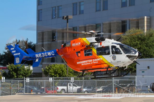 N836WC — - Washington County EMS Air One landing at Baylor Scott & White hospital Temple, Texas