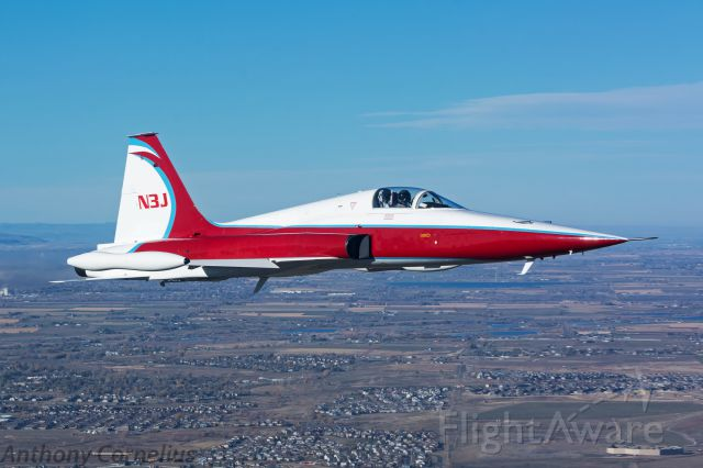 """Northrop RF-5 Tigereye (N3J) - """"Cujo"""" Rejoining off our wing during an air to air photo mission."""