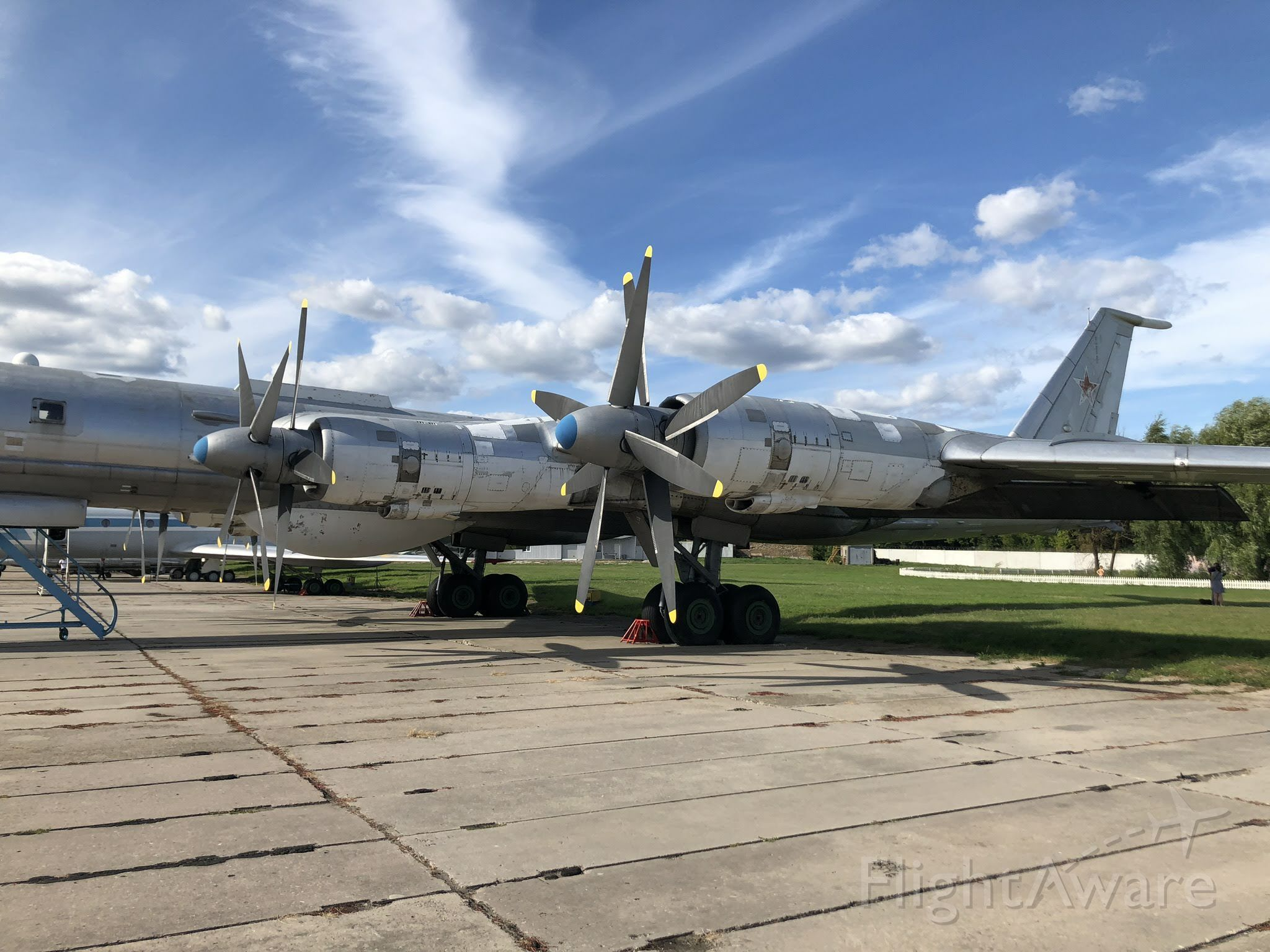 """Tupolev Tu-142 — - Tu-95 """"Bear"""" is one of the loudest military aircraft, particulary because the tips of the propeller blades move faster than the speed of sound. On display at the Oleg Antonov State Aviation Museum. Kiev-Ukraine, Aug 2019."""