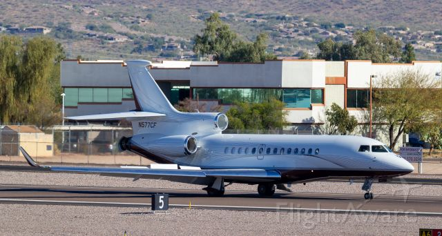 Dassault Falcon 7X (N577CF) - Spotted at KSDL on December 26, 2020br /Spotting location: Airport business center br /br /Looking for a Realtor in the PHX area? Call Jake Youngs with Realty Executives at 602.628.3487 to find out how I can help you!