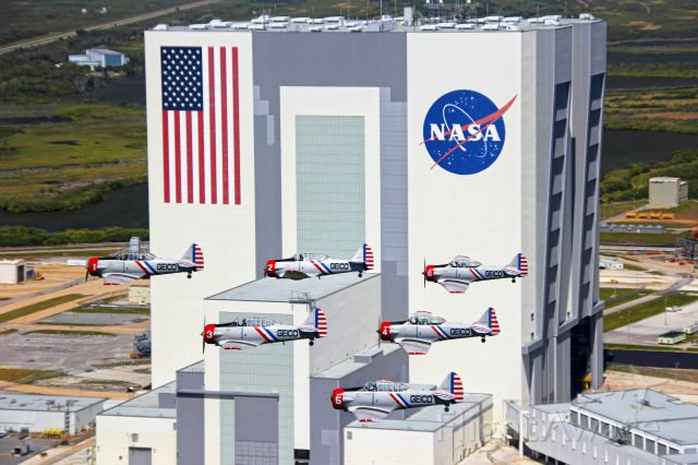"""— — - GEICO Skytypers pass VAB at """"The Cape"""" - we were in town to fly the TICO Airshow @ KTIX"""