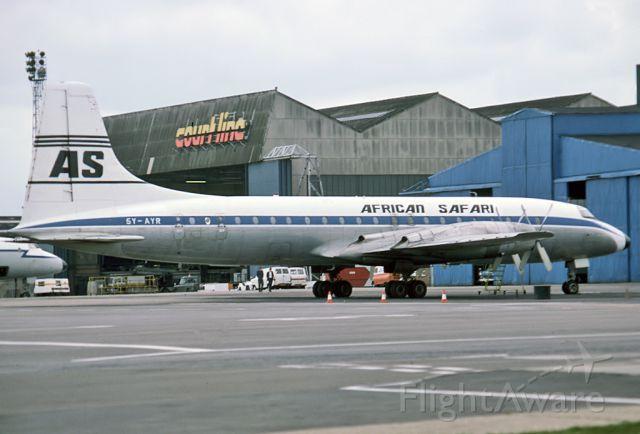 5Y-AYR — - AFRICAN SAFARI AIRLINES - BRISTOL 175 BRITANNIA 307F - REG 5Y-AYR (CN 12920) - LONDON STANSTED UK. ENGLAND - EGSS (1976)35MM SLIDE CONVERSION SCANNED AT 6400 DPI.