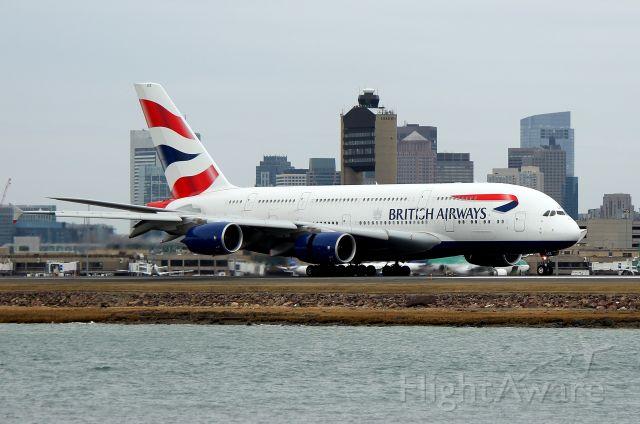 Airbus A380-800 (G-XLEE) - Speedbird 213 Super arriving with the first British Airways A380 revenue flight to Boston (3/26)