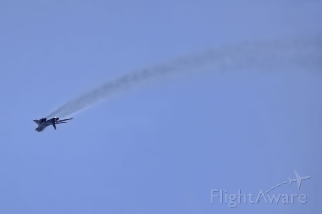 — — - A Rockwell B-1B Lancer goes inverted while leaving Beale AFB