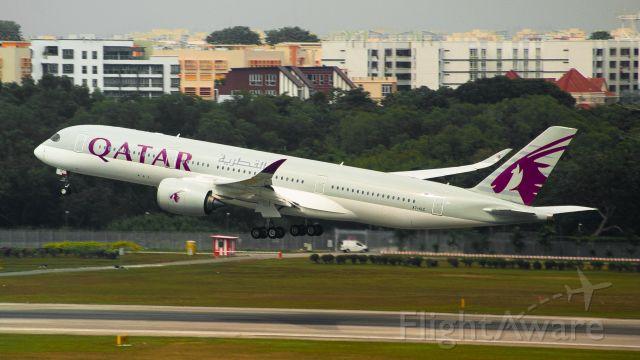 Airbus A350-900 (A7-ALC) - Qatar Airways departing runway 20R headed to Doha
