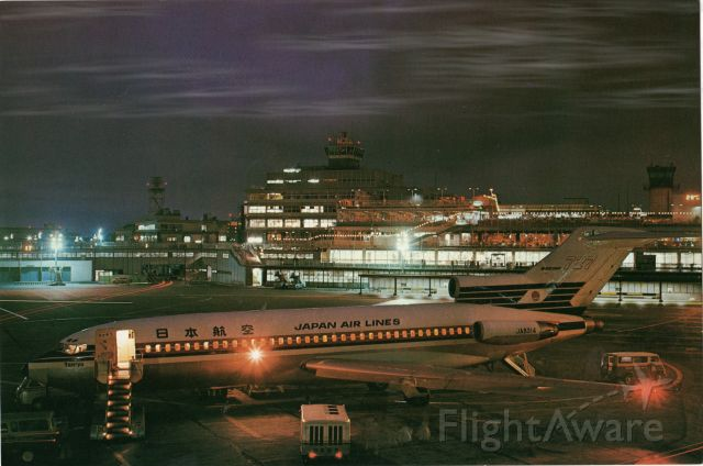 Boeing 727-100 (JA8314) - This photo is a Post Card from the early 1970s. I did not photograph this image!<br /><br />Shown here is a Japan Air lines Boeing 727 being serviced at Toyko Int'l Airport.<br />Note that there are no Jetways/Gangways in the scene and only mobile stairs that roll up to the aircraft hatch entry door. The name Tenryu appears under the cockpit window. Wikipedia shows a Genichird Tenryu, a Japanese Professional Wrestler that perhaps they are honoring. I recall using Eastern, National and TWA Aircraft back then. The Boeing 727 help replace the infamous 707 Model in this time period.