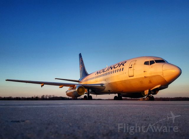 Boeing 737-200 (C-GNLW) - A rare sight - two B732s at London Ontario, Canada.