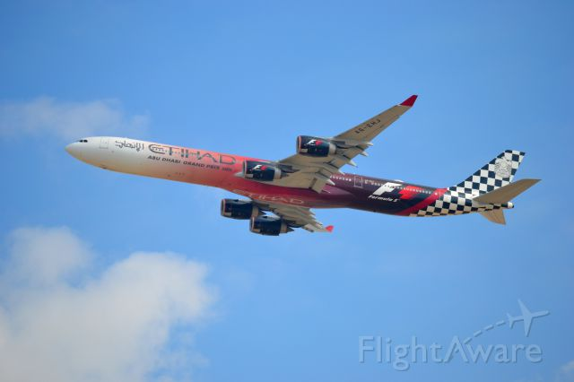 Airbus A340-600 (A6-EHJ) - Absolutely magnificent. A sight to behold. Spotting at Al Zeena Abu Dhabi. 31L departures.