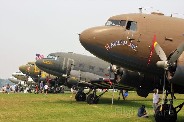 "Douglas DC-3 (N8704) - C-47 Sky Train Hairless Joe from the Yankee Air Museum of Michigan makes it ""5 Gooney Birds in a Row"" at Oshkosh 2021........"