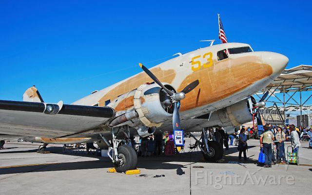 Douglas DC-3 (N53ST) - N53ST 1943 C-47 Douglas DC3C C/N 9380 - Las Vegas - Nellis AFB (LSV / KLSV)<br />Aviation Nation 2014 Air Show<br />USA - Nevada, November 8, 2014<br />Photo: TDelCoro