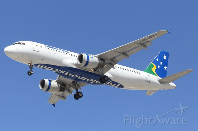 Airbus A320 (H4-BUS) - Solomon Airlines, sole A320, approaches YBTL.