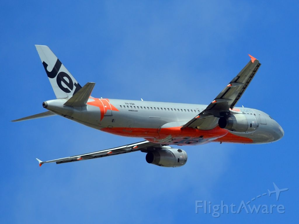 Airbus A320 (VH-VQH) - Getting airborne off runway 23. Saturday, 24th March 2012.