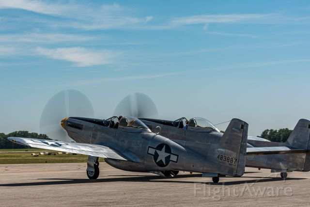North American P-51 Mustang (N887XP) - Enroute to Oshkosh, the famed XP-82 landed at the Springfield-Beckley Airport in Springfield, Ohio; 7/13/19.