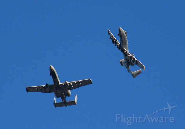 A10 — - Hog 02 from the 188th FW Flying Razorbacks breaks away from an A-10 from the 57th AW Maryland ANG.