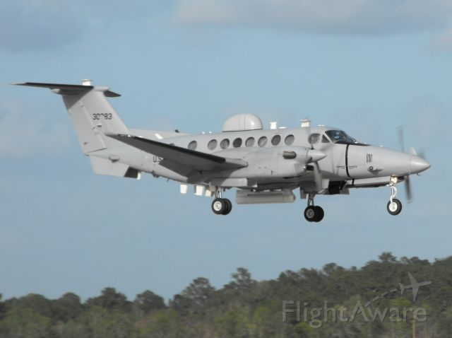 """Beechcraft Super King Air 350 (03-0283) - """"EVAL 85"""" back in Tallahassee, this time with a King Air 350, practicing in the pattern on a very windy day."""
