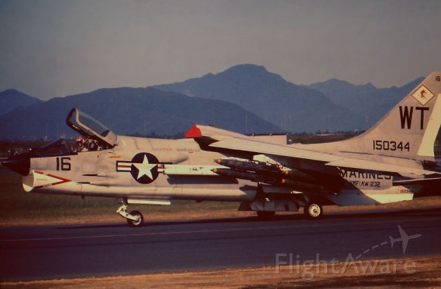 — — - This Marine F-8 Crusader was about to take off from Danang AB,Vietnam on a Close Air Support mission, in the Summer of 1966. Its armament load is ZUNI rockets and 2,000lb. snake eye bombs