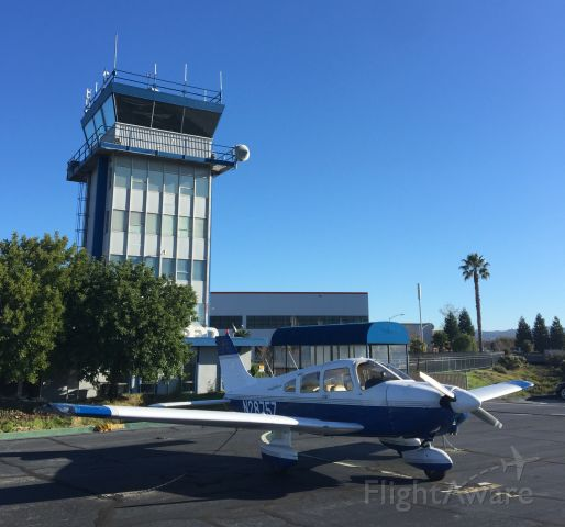 Piper Cherokee (N2875Z) - Probably the best parking spot on the airport; Right in front of the control tower.