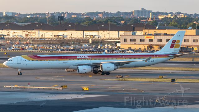 Airbus A340-600 (EC-JLE) - Pulling into Terminal 7. Still nice to see the Iberia A340s in the old liveries.