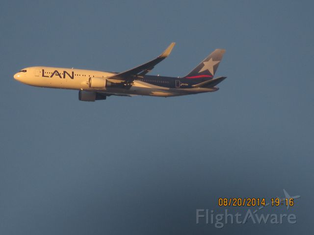 BOEING 767-300 (CC-CZU) - On approach to LAX. Photo taken from my backyard with ma Canon SX50 HS super zoom.