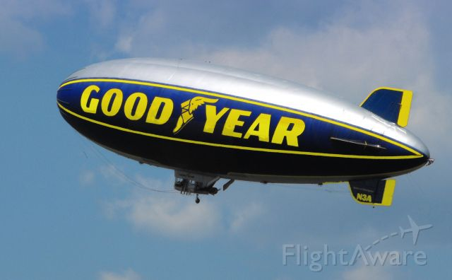 """Unknown/Generic Airship (N3A) - Shown here is the """"Spirit of Goodyear"""" Airship in the Spring of 2013.  All airships on this page were posted on 4th of July, 2019."""