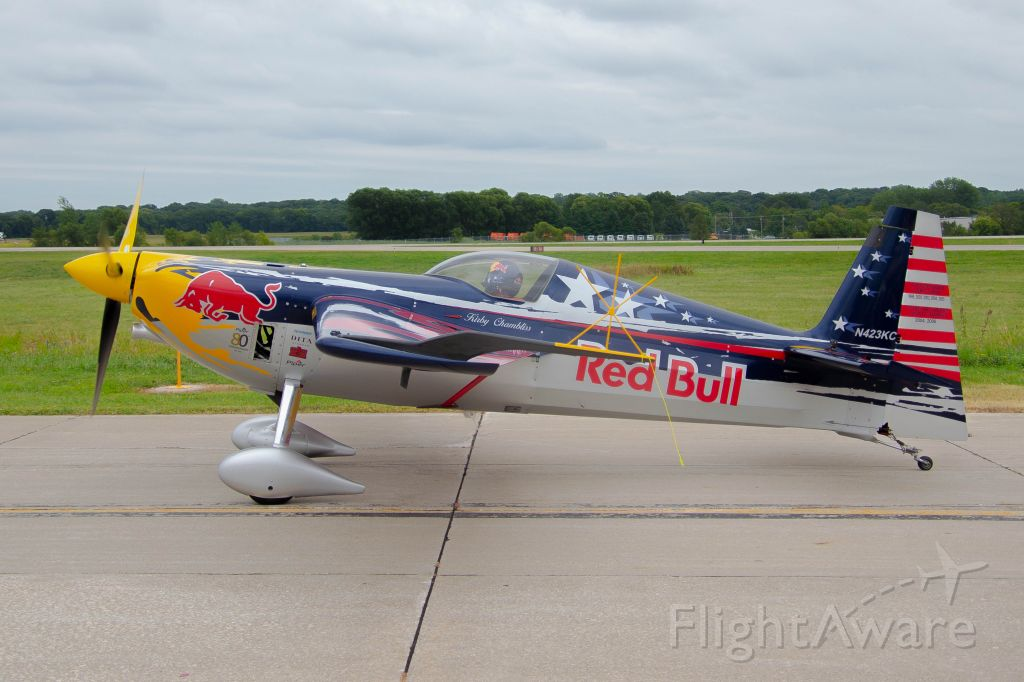 ZIVKO Edge 540 (N423KC) - Kirby Chambliss at the Central Iowa Airshow entertained the audience in his Zivko Edge as part of the Red Bull Air Force.  His performance was awesome and showcased his skills in the aircraft.  Photo taken August 25, 2019 with Nikon D320 at 26mm.