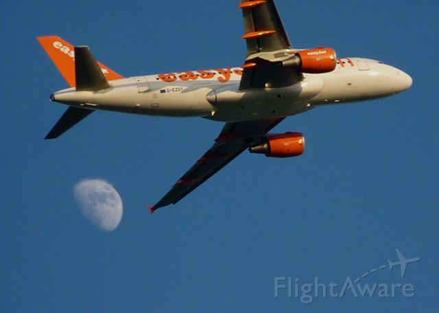 Airbus A319 (G-EZDY) - Over the moon!