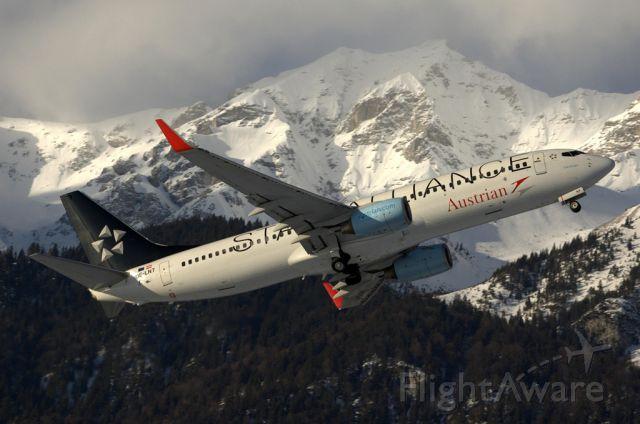 Boeing 737-800 (OE-LNT) - beautiful take-off from Innsbruck
