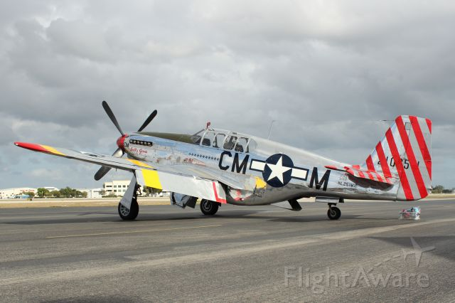 "North American P-51 Mustang (NL251MX) - ""Betty Jane"" P-51C visiting KFXE on 2/10/13, along with ""Witchcraft"" B-24J and ""Nine-O-Nine"" B-17G."