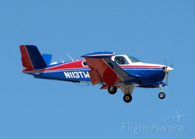 Beechcraft 35 Bonanza (N113TW) - Landing at Shreveports Downtown Airport. A beautiful V-tail!!