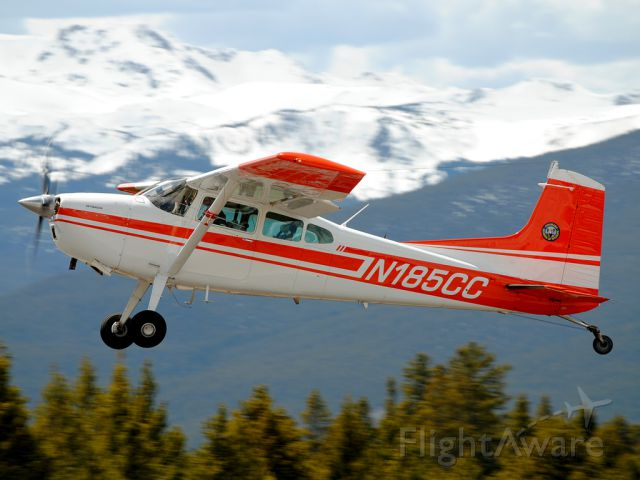Cessna Skywagon (N185CC) - A Skywagon from the Division of Wildlife rockets out of the Leadville-Lake County Airport