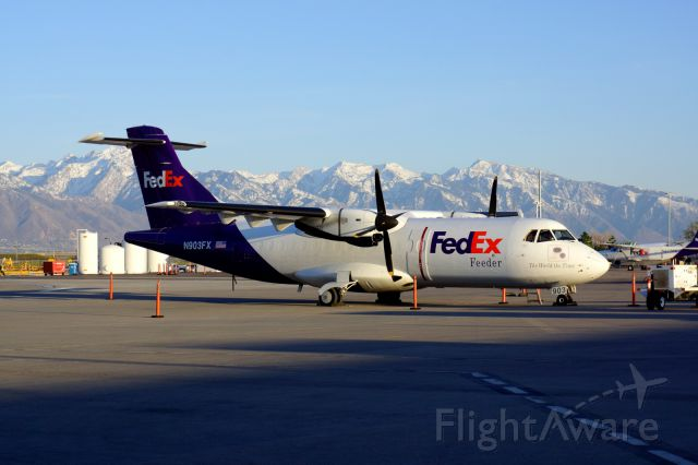 Aerospatiale ATR-42-300 (N903FX) - Sitting on the ramp in SLC