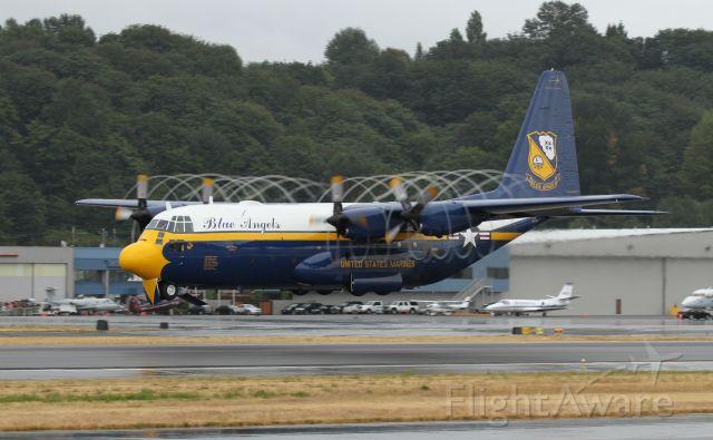 "Lockheed C-130 Hercules (16-4763) - Lockheed C-130T ""Fat Albert"" keeping it low on departure out of Boeing Field in Seattle Washington on a damp day."