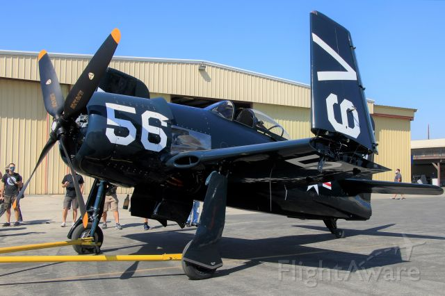 N3025 — - The Planes of Fame Air Museum's newly restored F8F-2 Bearcat, a combination of multiple different airframes, is pulled out for its first public demonstration flight.