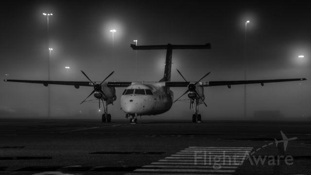 de Havilland Dash 8-300 (VH-XFQ) - Fog rolling through during the night - one couldn't resist a night photo.