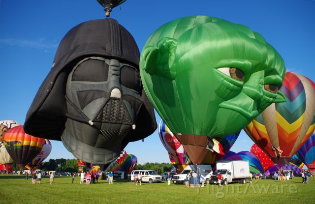 Unknown/Generic Balloon (00BQZ) - SOLBERG AIRPORT-READINGTON, NEW JERSEY, USA-JULY 25, 2015: Seen at the 2015 Quick Chek New Jersey Festival of Ballooning were two of the most popular characters from STAR WARS depicted as hot air balloons, Darth Vader-registration number 00-BQZ and Master Yoda-registration number G-C11E.