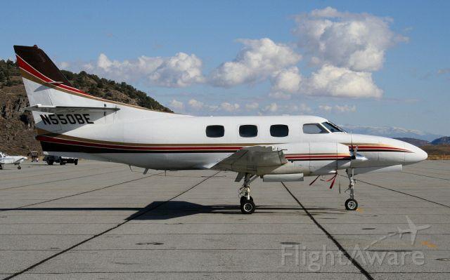 Swearingen Merlin 3 (N550BE) - Taking a break at Mammoth Airport, Ca.  10-25-05