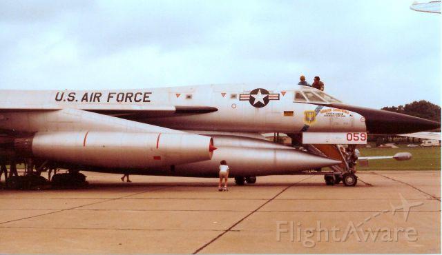 — — - Record-breaking B-58, static display, SAC Air Museum, Offutt AFB, NE. Oct, 1982