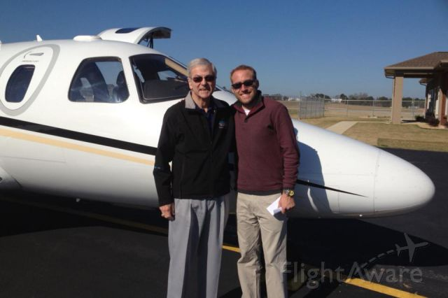 Eclipse 500 (FWR21) - TR with instructor Casey Jones (former Blue Angels Commander) after completion of EA-50S type rating, with new paper pilot certificate in hand