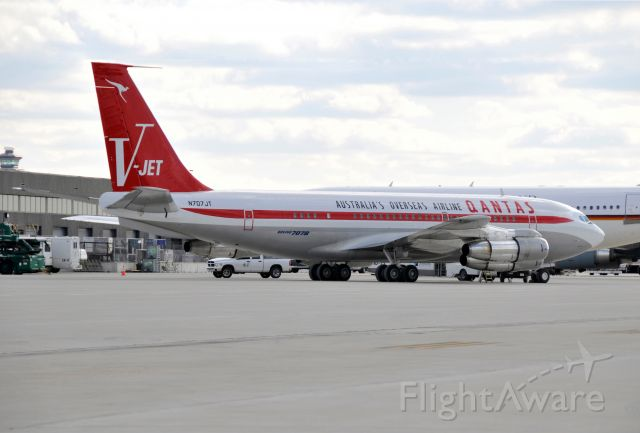 """Boeing 707-100 (N707JT) - Seen at KIAD on 11/22/2008.  On this date, Mr. Travolta was still allowing public tracking of his aircraft so we had a few hours notice.  Understandably, he is now blocking his flights from tracking.      <a href=""""http://discussions.flightaware.com/profile.php?mode=viewprofile&u=269247"""">  [ concord977 profile ]</a>"""