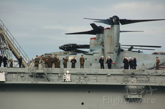 — — - An MV-22 Osprey aboard USS New York as she makes her maiden voyage into New York Harbor