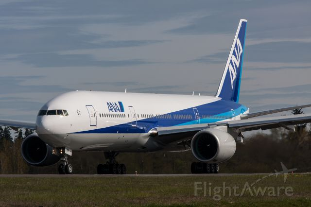 Boeing 777-200 (JA741A) - ANA 777-200 taking off for a test flight.