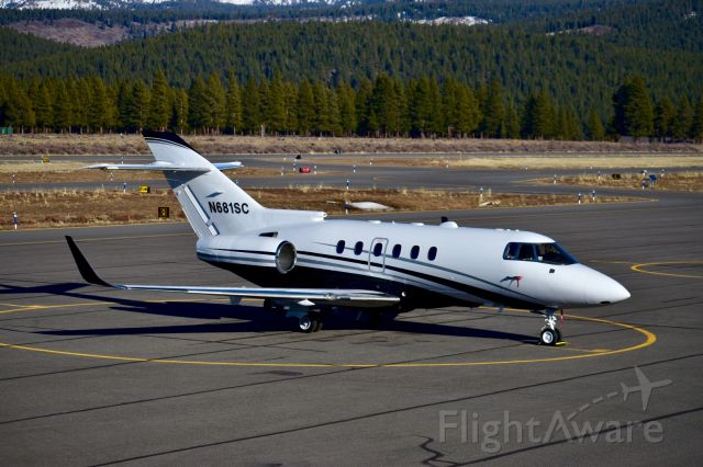 Raytheon Hawker 800 (N681SC) - N681SC rests at Truckee Tahoe (KTRK) after its flight from Tusla (KTUL) on Saturday, 22 February, 2020