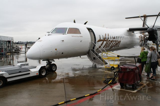 de Havilland Dash 8-400 (N400QX) - My plane to Edmonton, first time on a turbo prop, quieter than I expected.  It was fun to board from the ground