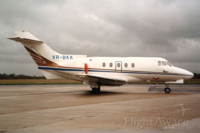 Hawker Siddeley HS-125-400 (VR-BKK) - Seen here in Nov-89.br /br /Reregistered VP-BKK 1-Jul-97.br /Damaged beyond repair 14-Feb-14 at EGHH.br /Used as a testbed with Tudor Scan Tech at St-Imier, Switzerland.