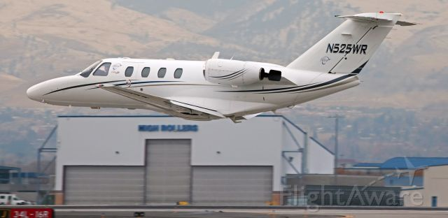 Cessna Citation CJ1 (N525WR) - This first photo of N525WR in the FlightAware picture gallery captures it only several feet off runway 16L with the wheels already tucked away in the wells as it departs KRNO for a very, VERY brief flight - just 8 minutes - to Reno Stead Airport (KRTS).