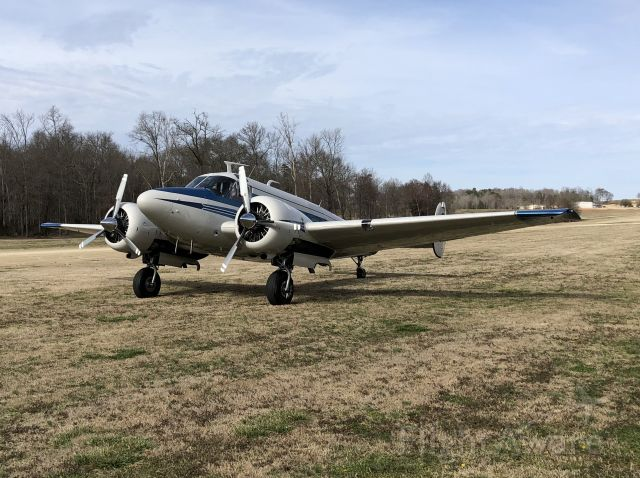 Beechcraft 18 (N62CJ) - Departing the Chilly Chili Fly-In