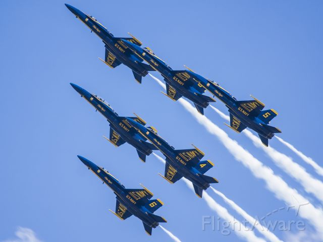 McDonnell Douglas FA-18 Hornet — - Blue Angels in Delta formation at the Dayton Airshow.